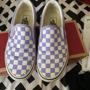 Purple and White Slip-on Vans